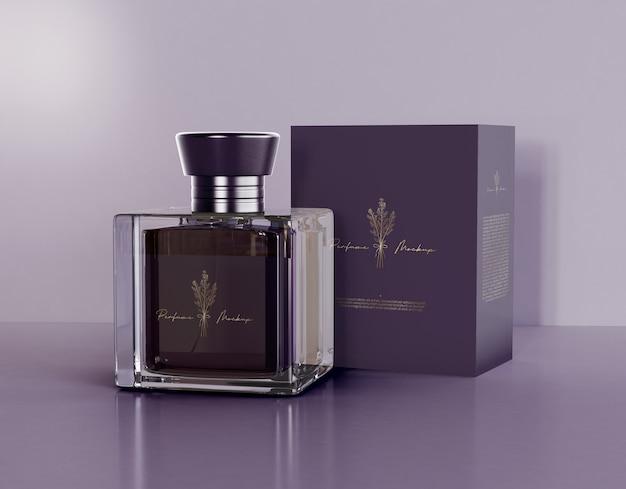 Frasco de perfume com caixa de maquete Psd grátis