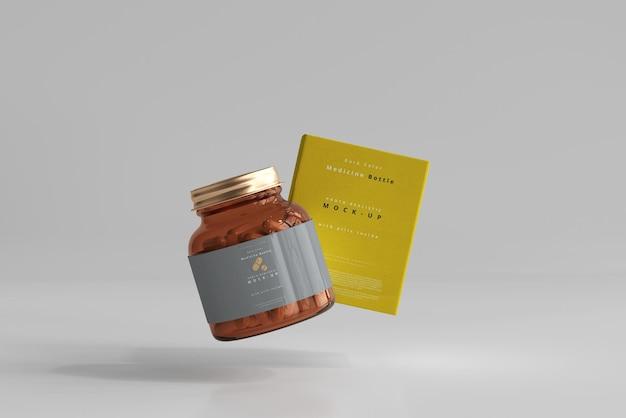 Frasco de remédio âmbar e maquete de caixa Psd grátis
