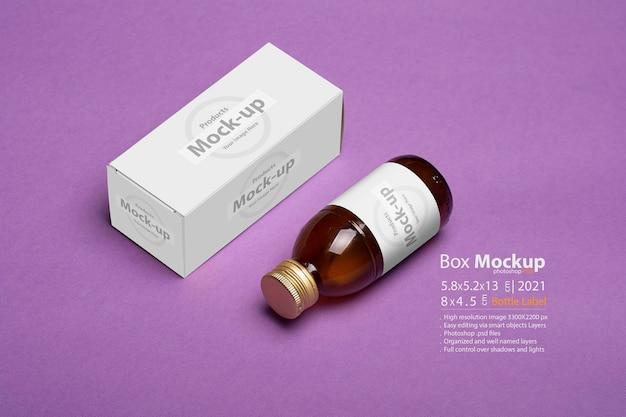 Frasco de suplemento dietético de caixa de comprimidos com pacote no fundo, série de mock-up psd editável com modelo de camadas de objeto inteligente pronto para seu projeto Psd Premium