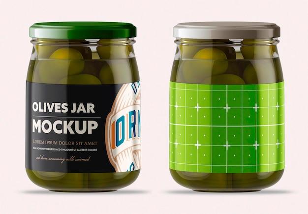 Frasco de vidro transparente com design de maquete de azeitonas isolado Psd Premium