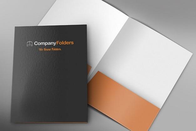 Frente e dentro da pasta corporativa modelo mockup psd livre Psd grátis