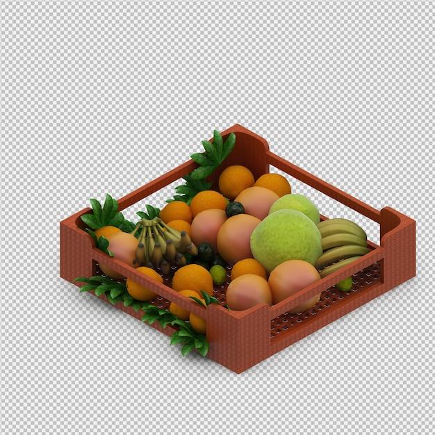 Frutas 3d render Psd Premium