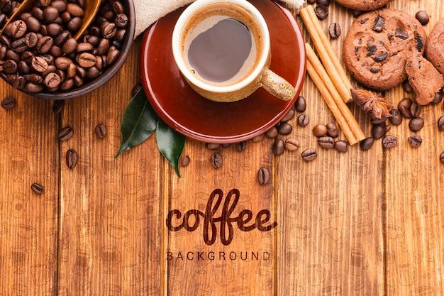 Fundo com café e biscoitos Psd grátis