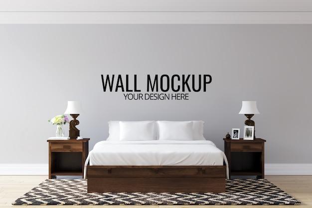 Fundo da parede do quarto interior mock up Psd Premium