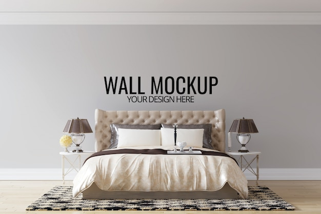 Fundo da parede do quarto interior mock up Psd Premium