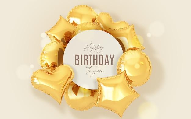 Fundo de aniversário com balões dourados e moldura Psd grátis