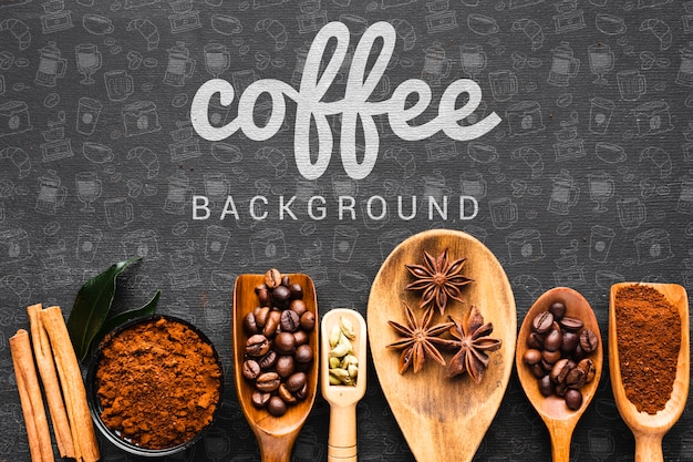 Fundo de café com colher de pau para café Psd grátis