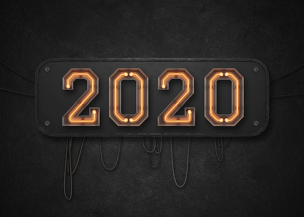 Fundo de feliz ano novo de 2020 Psd Premium