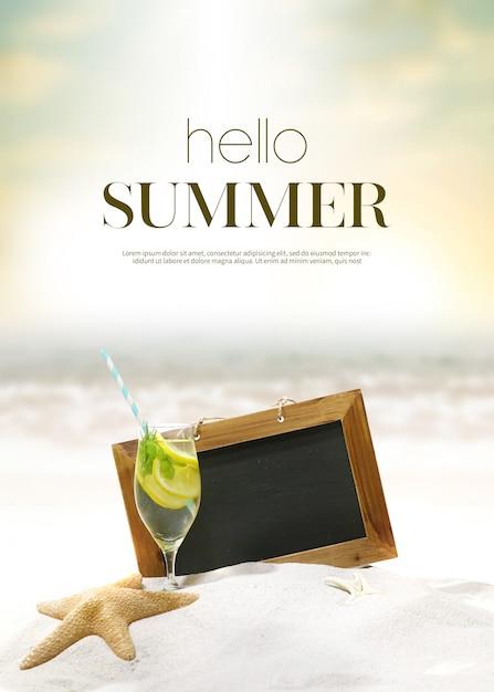 Fundo de férias de verão & objeto Psd Premium