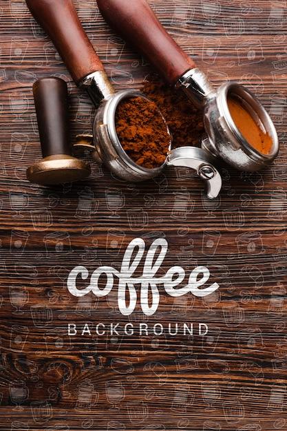 Fundo de madeira com coisas de café Psd grátis