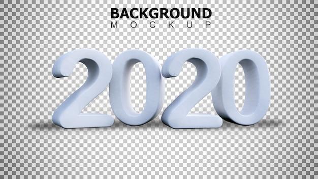 Fundo de maquete para renderização 3d texto plástico branco 2020 fundo Psd Premium
