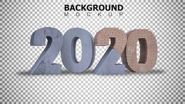 Fundo de maquete para renderização em 3d em construção texto 2020 fundo Psd Premium