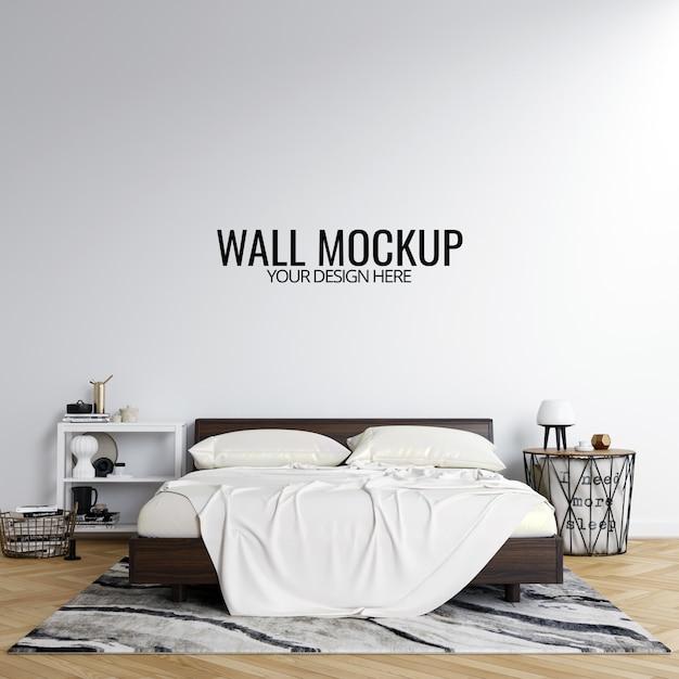 Fundo de mockup de parede quarto interior Psd Premium