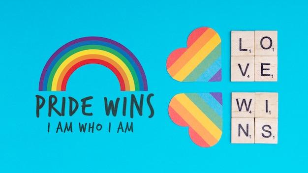 Fundo de orgulho gay com corações Psd grátis