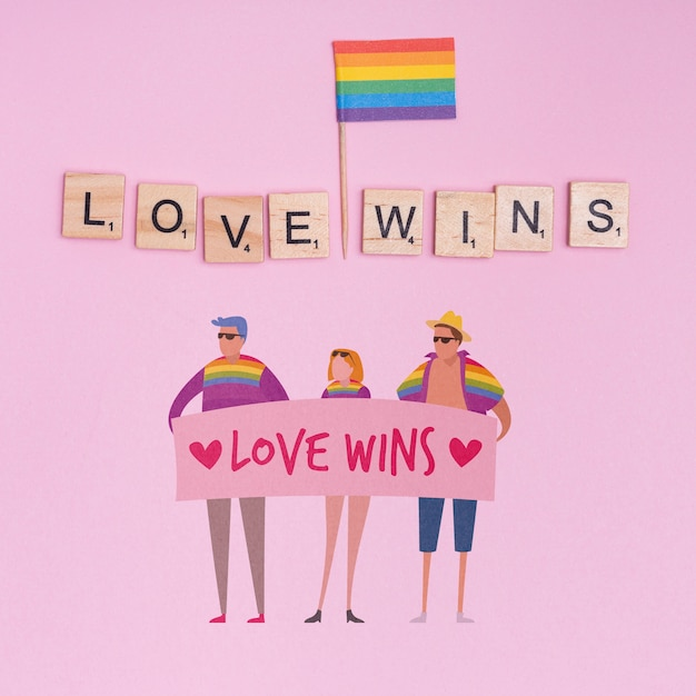 Fundo de orgulho gay com elementos Psd grátis