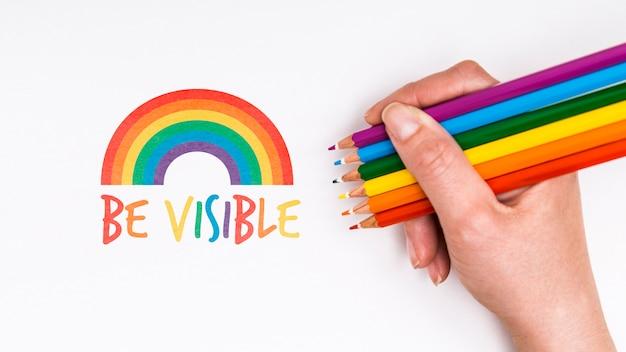 Fundo de orgulho gay com lápis de cor Psd grátis