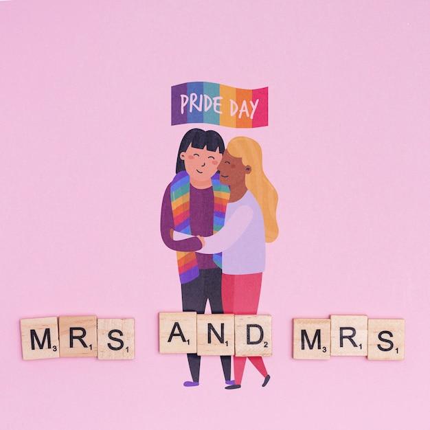 Fundo de orgulho gay com um casal homossexual Psd grátis