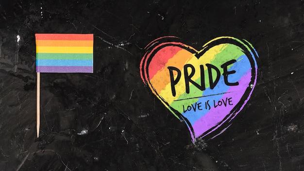 Fundo de orgulho gay com um coração Psd grátis