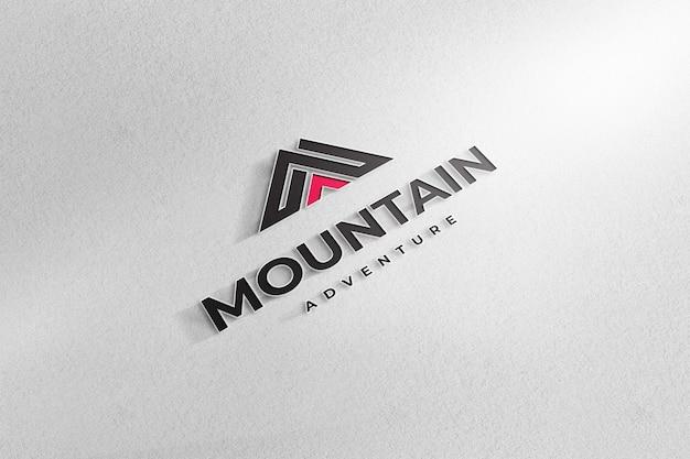 Fundo de papel branco de sinal de maquete realista de logotipo Psd Premium