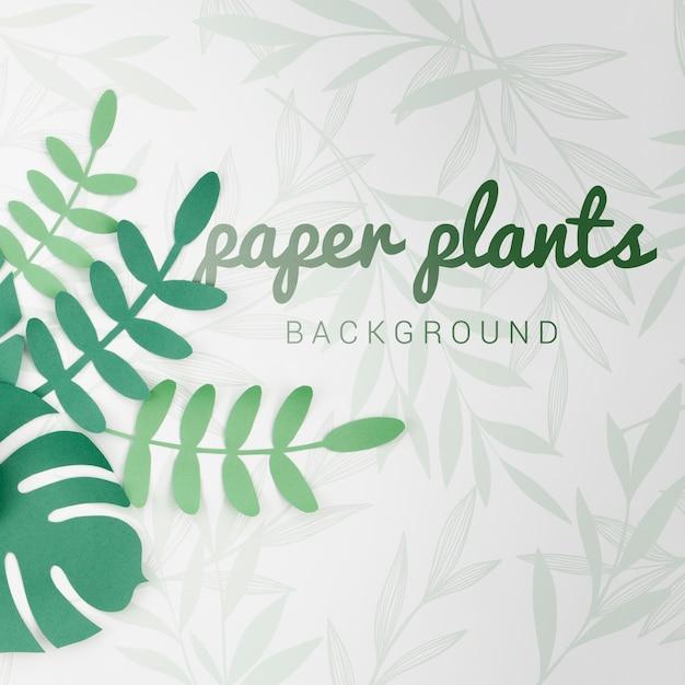 Fundo de plantas de papel gradiente tons verdes com sombras Psd grátis