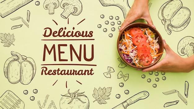 Fundo do menu de restaurante com salada saborosa Psd grátis
