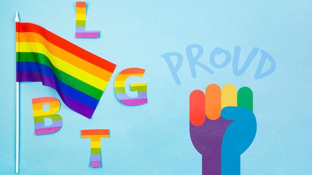 Fundo do orgulho gay com a bandeira do arco-íris Psd grátis