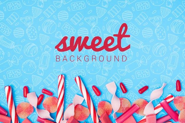 Fundo doce com palitos de doces de açúcar Psd grátis