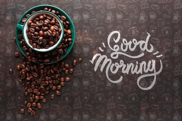 Fundo elegante com grãos de café Psd grátis