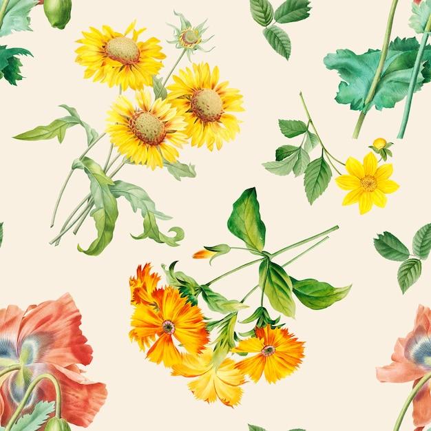Fundo estampado floral Psd grátis