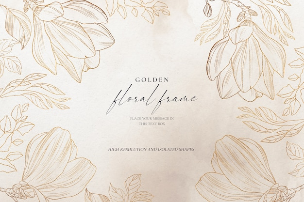 Fundo floral bonito com natureza dourada Psd grátis