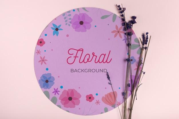 Fundo floral com maquete de lavanda Psd grátis