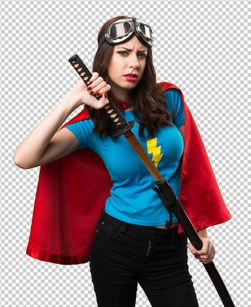 Garota muito super-herói com katana Psd Premium