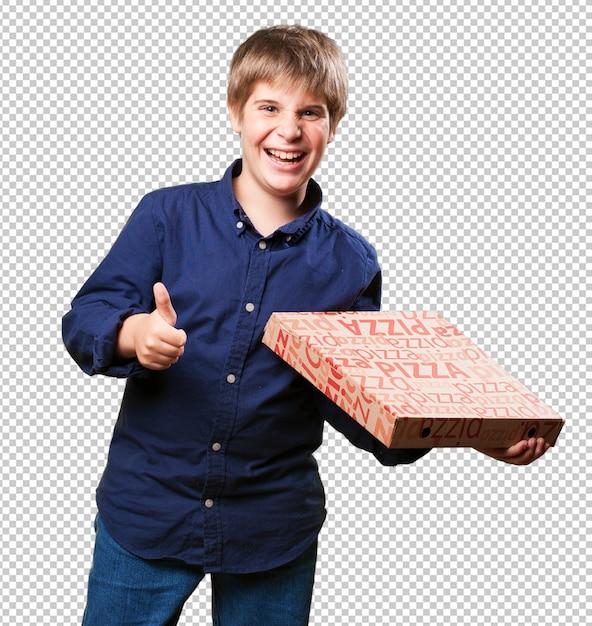 Garotinho segurando caixas de pizza Psd Premium