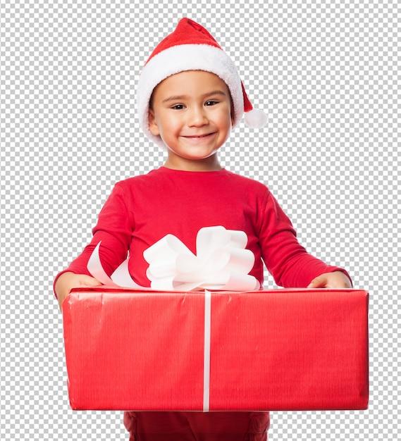 Garoto garoto comemorando o natal Psd Premium