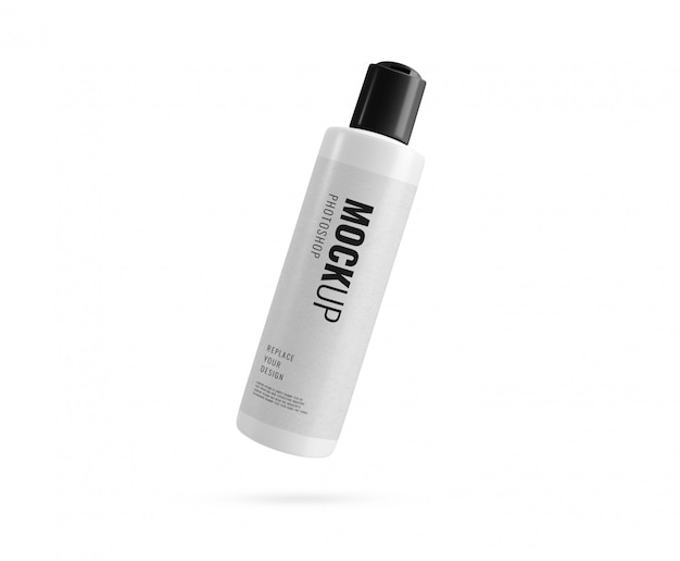 Garrafa branca com maquete de tampa preta Psd Premium