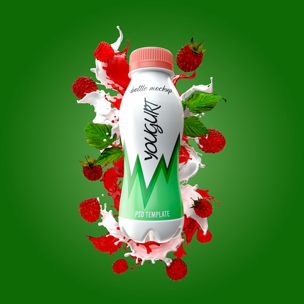 Garrafa de iogurte com respingo de leite e maquete de framboesa Psd Premium