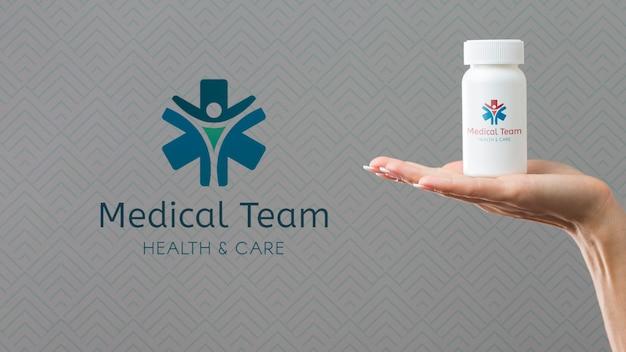 Garrafa de plástico cheia de maquete de comprimidos Psd grátis