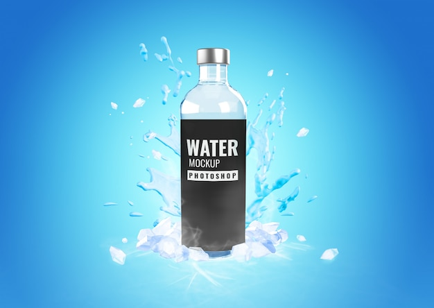 Garrafa de vidro água fria respingo maquete publicidade Psd Premium