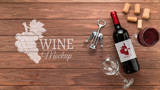 Garrafa de vinho com vista frontal e espaço de cópia Psd grátis