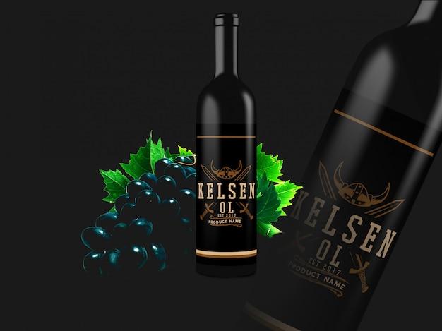 Garrafa de vinho mock up design Psd Premium