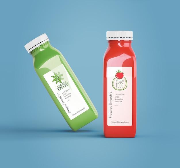 Garrafas de plástico com diferentes sucos de frutas ou vegetais Psd grátis