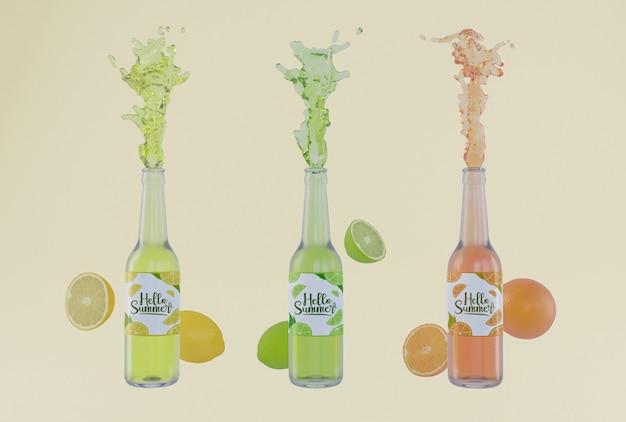Garrafas de refrigerante de fruta colorida Psd grátis