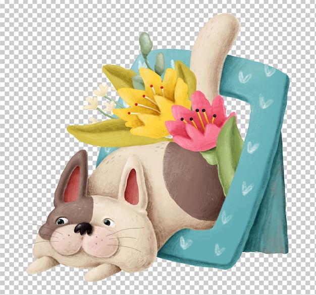 Gatinho fofo com flores mão ilustrações desenhadas Psd Premium