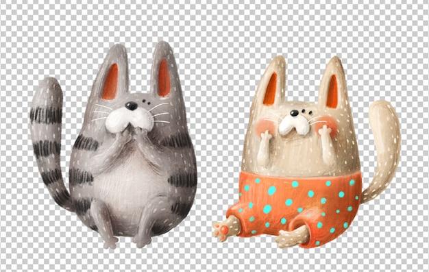 Gatos bonitos mão ilustrações desenhadas Psd Premium