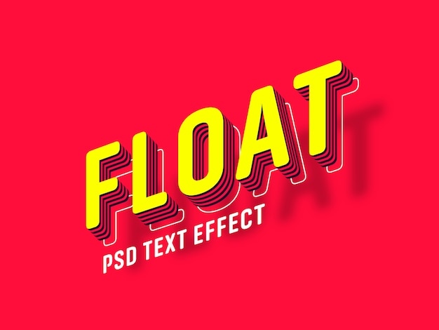 Gerador de efeito de texto flutuante Psd Premium