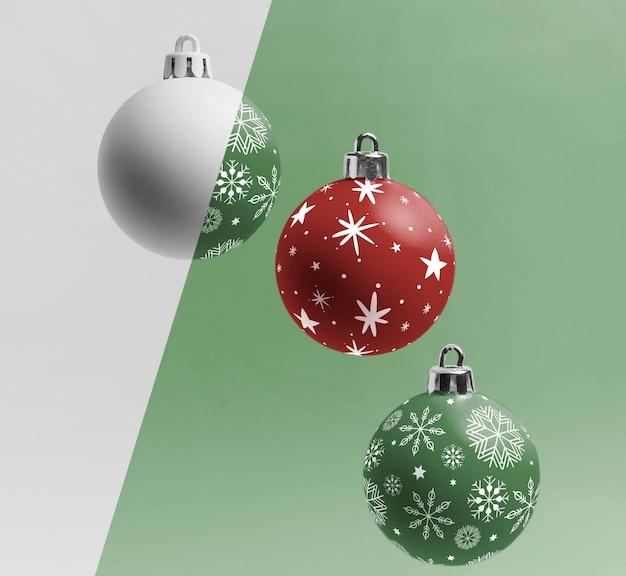 Globos de natal com flocos de neve Psd grátis