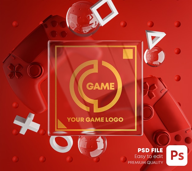 Golden glass logo red mockup para gamepad Psd Premium