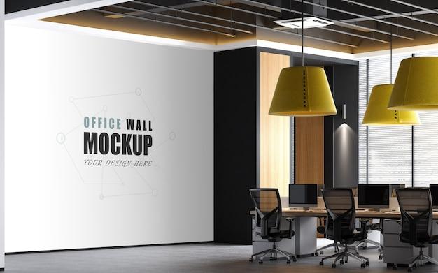 Grande espaço de trabalho com maquete de parede com realces amarelos Psd Premium