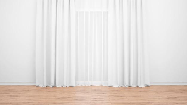 Grande janela com delicadas cortinas brancas. chão de madeira. quarto vazio como conceito mínimo Psd grátis