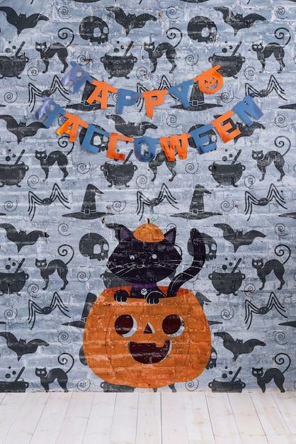 Guirlanda de feliz dia das bruxas e abóbora com gato nele Psd grátis